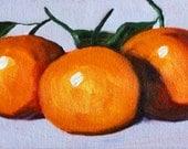 Original Oil Painting, Tangerine Kitchen Decor, Citrus Fruit Kitchen Art, Small 5x7 Still Life on Canvas, Orange Wall Decor