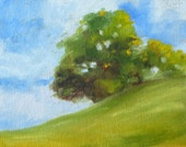 Landscape Oil Painting, Original, Tree, Summer, Field, 5x7, Canvas, Green, Blue, Decor