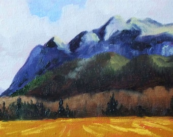 Mountain Landscape, Original Oil Painting, 5x7, Blue Gold, Small Canvas Painting, Wall Decor, Northwest Scene, West Coast, Trees Field