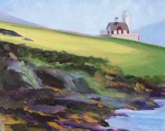 Landscape Oil Painting, Original Irish Lighthouse, Beach Seascape, Green, Purple, 12x12, Gallery Canvas, Wall Decor, Ireland