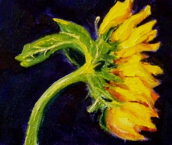 Small Still Life Painting, Original Oil, Small, 4x5, on Canvas, Sunflower, Flower, Floral, Yellow, Purple, Green