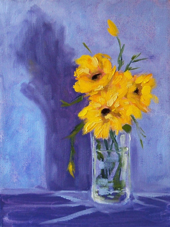 Oil Painting, Still Life Sunflower, 9x12 canvas, Yellow Flowers, Floral, Kitchen Art, Blue Wall Decor, Glass, Gold, Purple Shadows