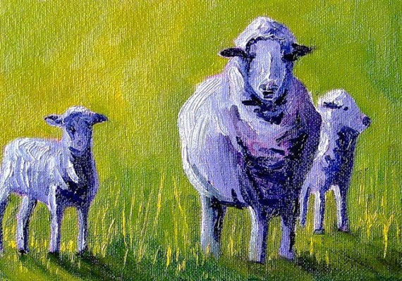 Sheep, Small Original Oil Painting, Portrait, 5x7