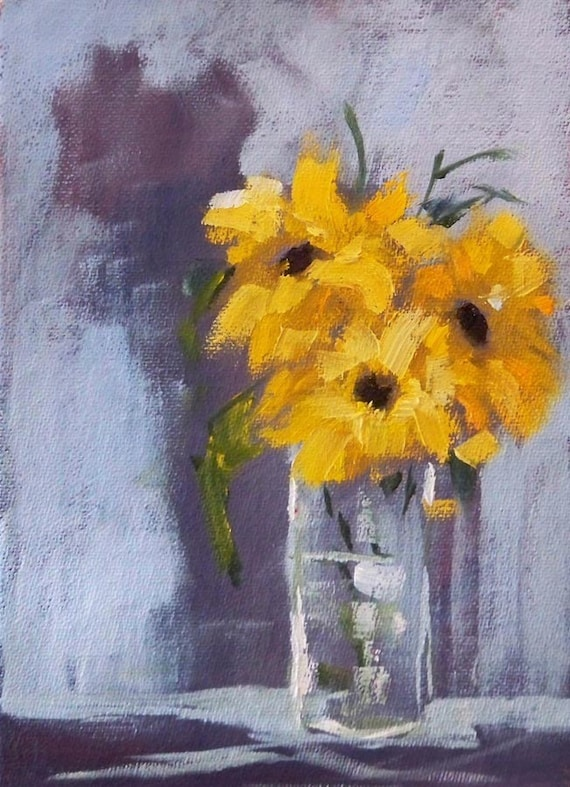 Sunflowers, Still Life, Oil Painting, Original Small, 5x7 Canvas, Yellow Floral, Gray, Blue, Glass, Kitchen Wall Decor, Summer Flowers
