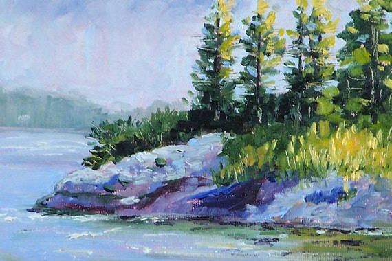 Original Landscape Painting, Oil on Canvas, Small 5x7, Evergreen Trees, Lake Shore, River Art, Wall Decor, Outdoor Scene