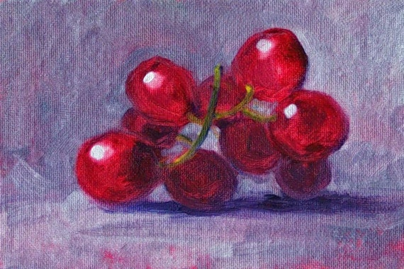 Still Life Painting, Small Fruit Painting, Oil on Canvas, 4x6, Red Grapes, Original Kitchen Decor, Kitchen Art, Wall Decor