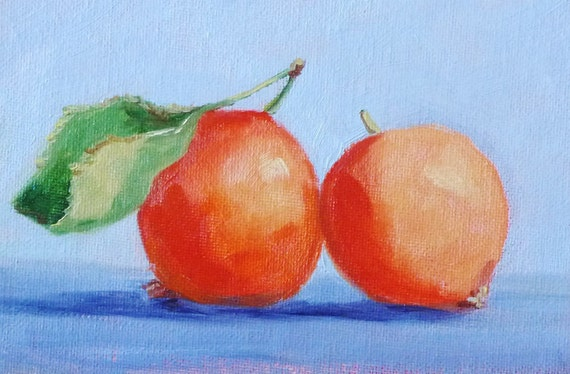 Still Life, Fruit Painting, Original Oil Painting, 4x6 on Canvas, Miniature Fruit, Kitchen Art, Kitchen Decor, Wall Decor