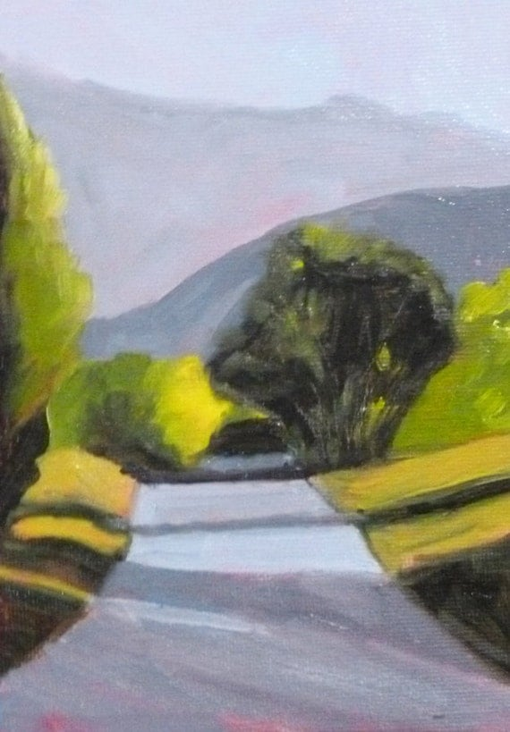 Small Landscape Painting, Original, 5x7, Canvas, Road, Shadows, Green, Yellow, Purple, Trees