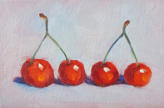 Small Still Life, Oil Painting, Original, Canvas, 4x6, Red Fruit Painting, Cherries, Kitchen Art, Kitchen Decor, Wall Decor