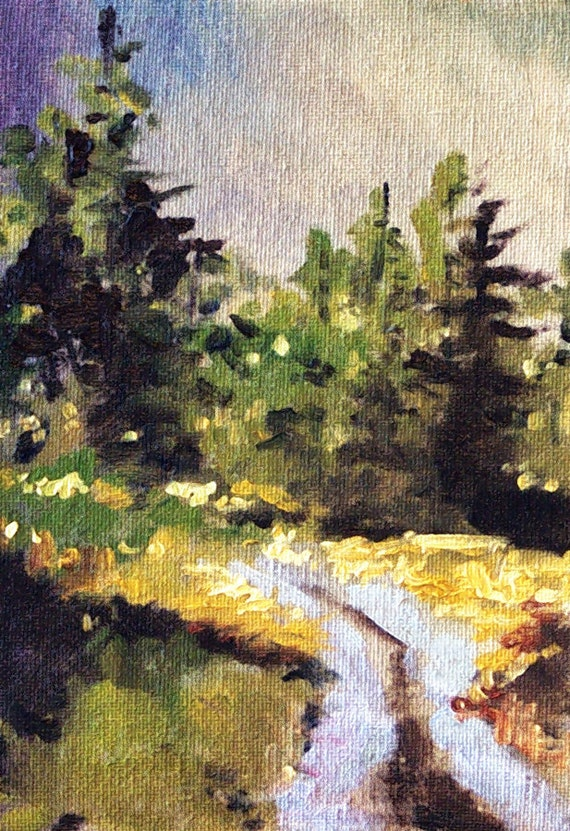 Landscape Painting, Original, Forest, Road, Small Oil Painting, 5x7, Canvas, Green, Gold