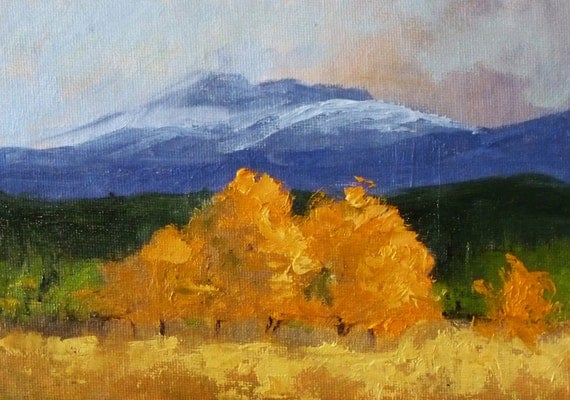 Landscape Oil Painting, Original Blue Mountain Art, Autumn, Orange, On Canvas, Small 5x7, Wall Decor, Golden Trees Scene, Western Landscape