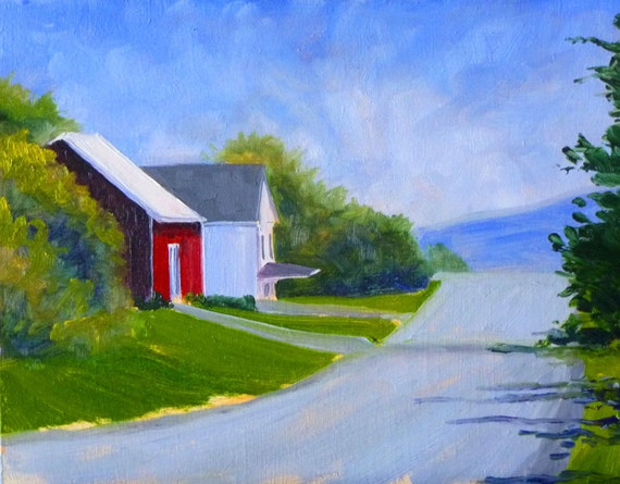 Landscape Oil Painting Original, Country Road, 8x10, Red House, Green Trees, Wall Decor