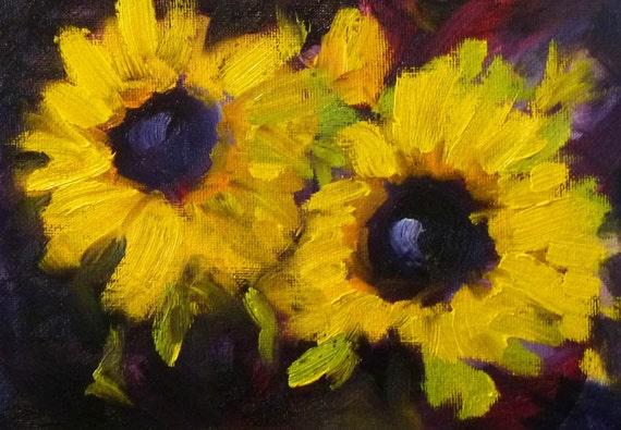 Sunflower Still Life, Oil Painting, Original on Canvas, Small 5x7 Floral, Flowers, Kitchen Art, Kitchen Decor, Wall Decor