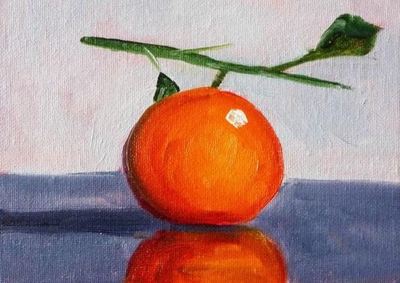Tangerine Still Life Oil Painting, Small Fruit Painting, Original Kitchen Art, Kitchen Decor, Wall Decor, Orange, Minimalist Tropical Fruit