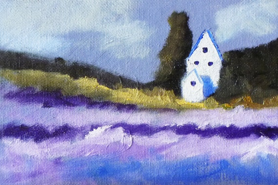 Abstract Landscape Oil Painting, Small Original, 4x6 on Canvas, Lavender Field House, Miniature Countryside, Tiny Wall Decor