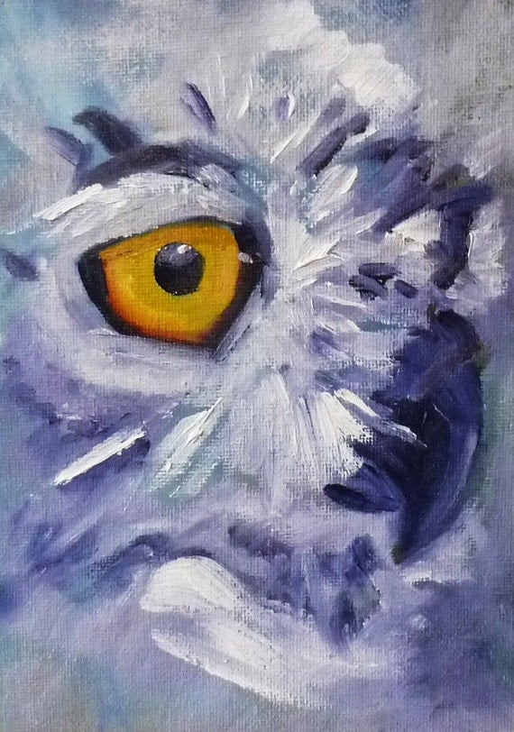 Original Owl Oil Painting on Canvas, Bird Portrait, Small 5x7 Wildlife Painting, Animal Art, Wall Decor