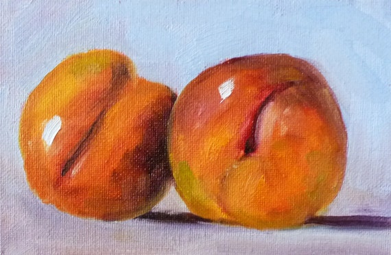 Small Still Life Fruit Painting, Original Miniature Oil Painting, Red Fruit, 4x6 on Canvas, Peach Wall Decor, Kitchen Decor, Wall Decor