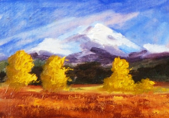 Mountain Landscape Painting, Original Oil, Canvas, 5x7, Small Landscape, Wall Art Home Decor, Central Oregon, Autumn, Fall, Winter