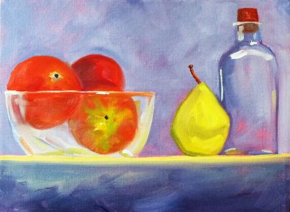 Still Life Oil Painting, Original Fruit Painting, Pear, Bowl, Bottle, 9x12 on Canvas, Kitchen Art, Kitchen Decor, Wall Decor
