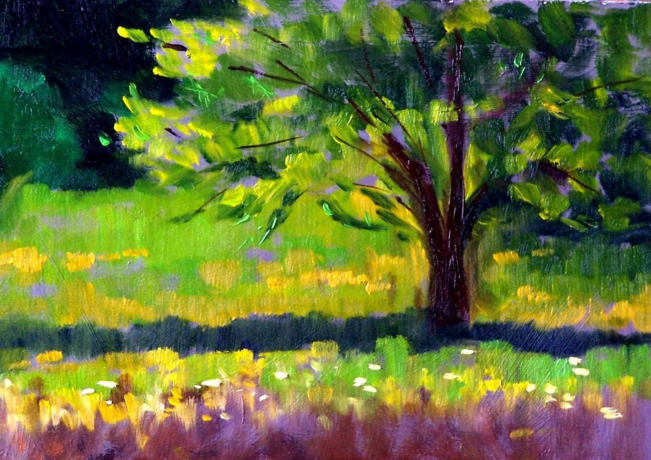 Original Landscape Oil Painting Summer Tree 5x7