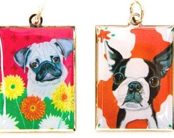 Pug Or Boston Terrier Charm, Zipper Pull, Pendant, Dog tag, puppy, dog, whimsical