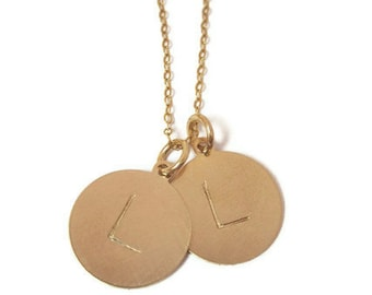 Hand stamped jewelry 15mm disc personalized gold initial necklace
