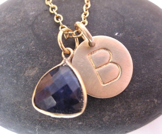 Hand stamped gold disc and gemstone necklace