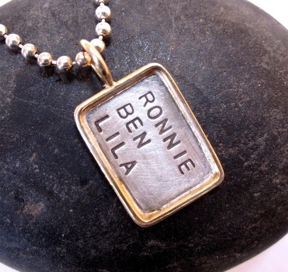 Hand stamped jewelry Gold rimmed tag necklace