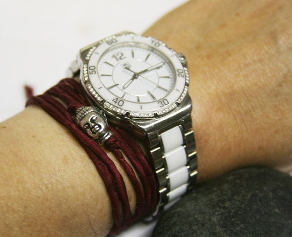 Red silk silver buddha bracelet