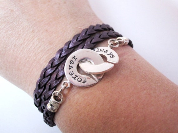Hand stamped sterling silver and leather wrap bracelet with interlocking clasp