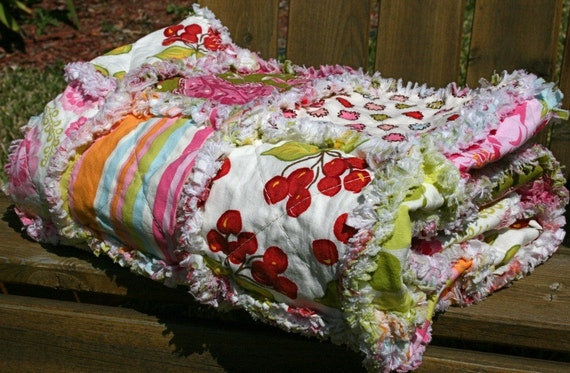 RESERVED for Cheryl -- SALE  Baby Rag Quilt or Playmat -- Apple Blossom