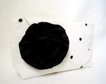 Black Rose and Dot evening bag purse