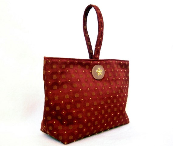 Red silk and gold Yvonne purse evening bag