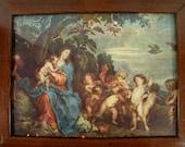 "Vintage Renaissance Art Print with Cherubs in Mahogany Frame - 9 3/4"" x 8"""