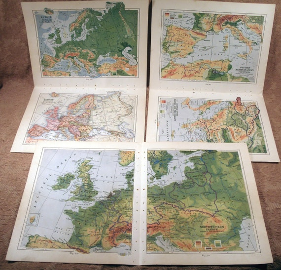 Vintage Color Map Lot Of 3 Double Pages - 1921 Europe - 10 x 7 in.