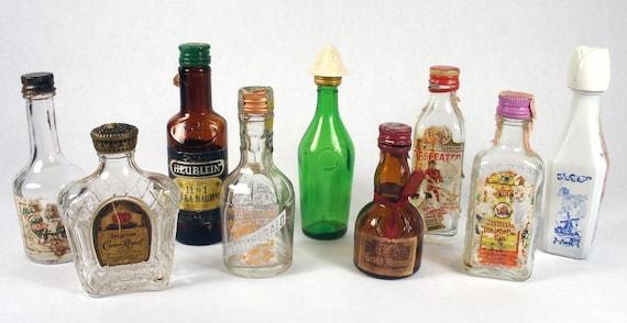 Vintage miniature booze bottles