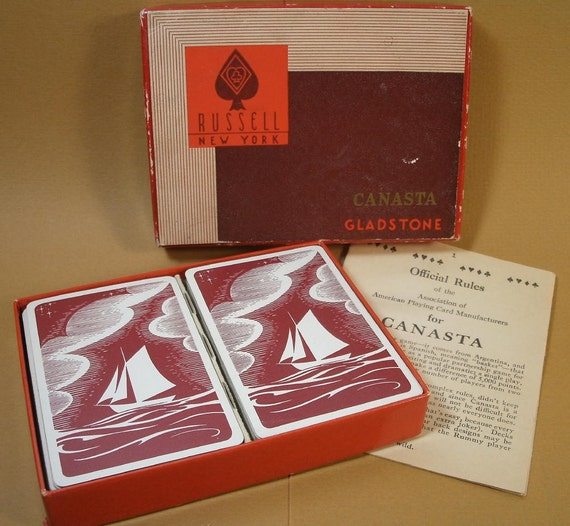 Vintage Canasta Card Game Set Ship/Boat Cards By Madampickay