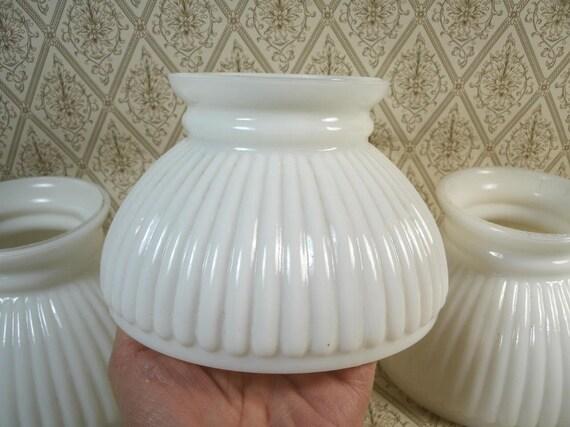 Vintage White Milk Glass Ribbed Lamp Chandelier Shades Set