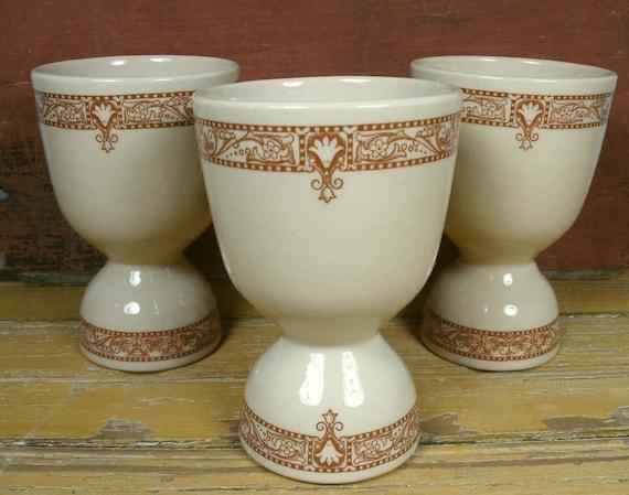 3 Vintage Inca Ware Egg Cups Shenango China Restaurant