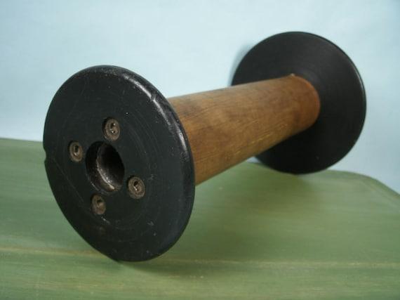 Vintage Wood Industrial Bobbin Spool - 10 in. Tall -  Primitive Candle Holder