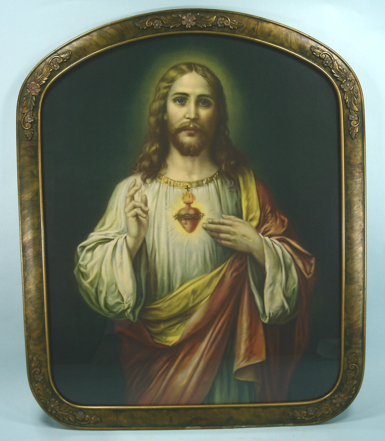 Beauty In Frame: Beautiful Antique Sacred Heart Of Jesus Framed Lithograph In