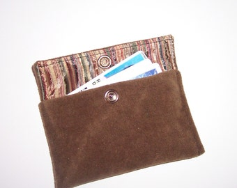 Brown Credit Card Wallet with Snap Closure
