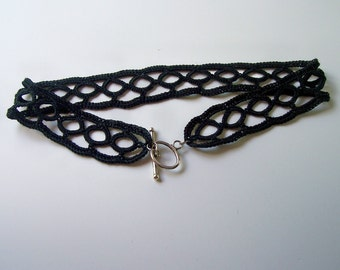 Black Crocheted Choker with silvertone clasp