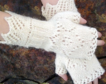 Fingerless Mitts knitting pattern- beaded, lace cross and star of david 2 patterns