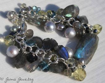 JUMA Jewelry - Made to order - FULL MOON Bracelet - Labadorite, Gray Freshwater Pearls, Lemon Topaz, and London Blue Topaz