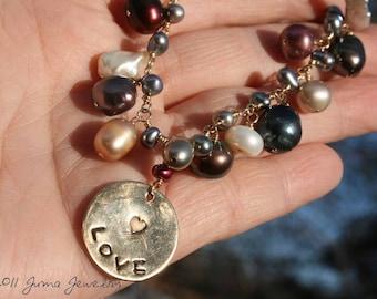JUMA Jewelry - LOVE BRACELET - Copper charm with Metallic Pearls
