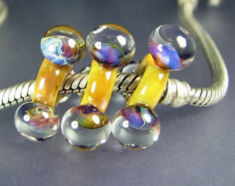 Large Hole Lampwork Glass Bead Tres Bulle #586 SRA