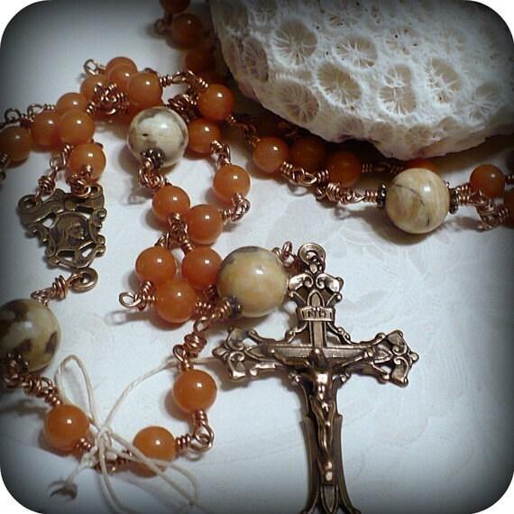 Wire-wrapped Rosary - Orange Aventurine, Yellow Jasper and Bronze
