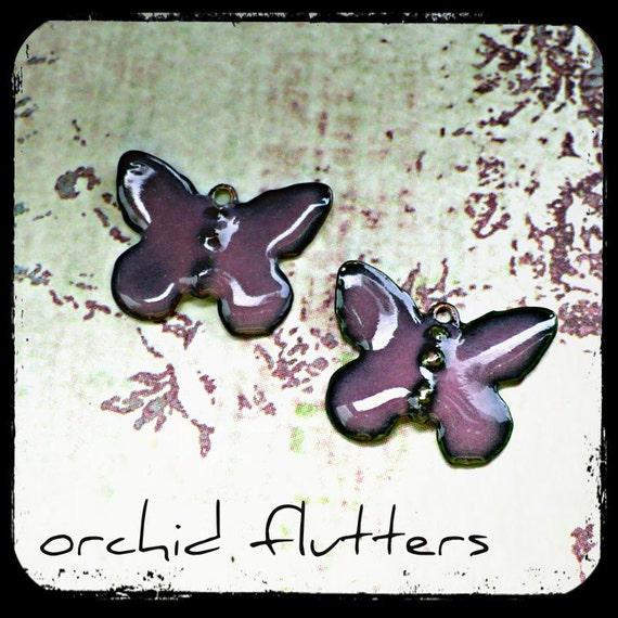 Enameled Brass Butterflies - Orchid Flutters