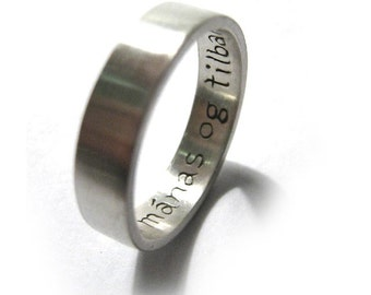 Your Thoughts Ring  - Custom - Personalize - Your Language - Your Words - Your Font - Solid Sterling Silver 925 - New - Rickson Jewellery